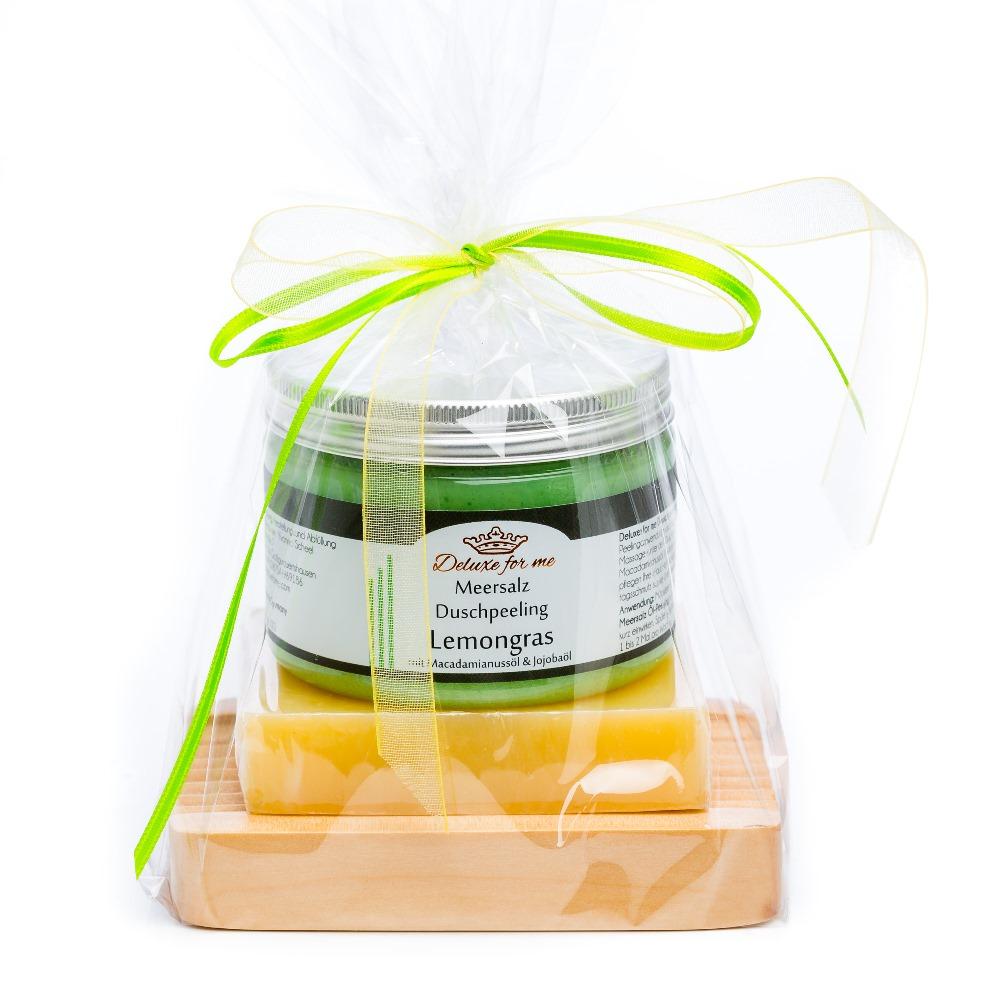 Geschenkeset Lemon 3-tlg. (Meersalz / Seife / Holz)