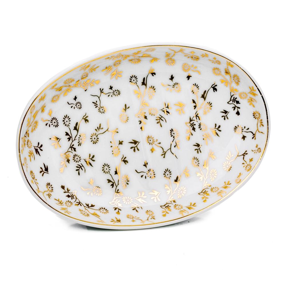 Keramik Seifenschale oval mit Goldmuster