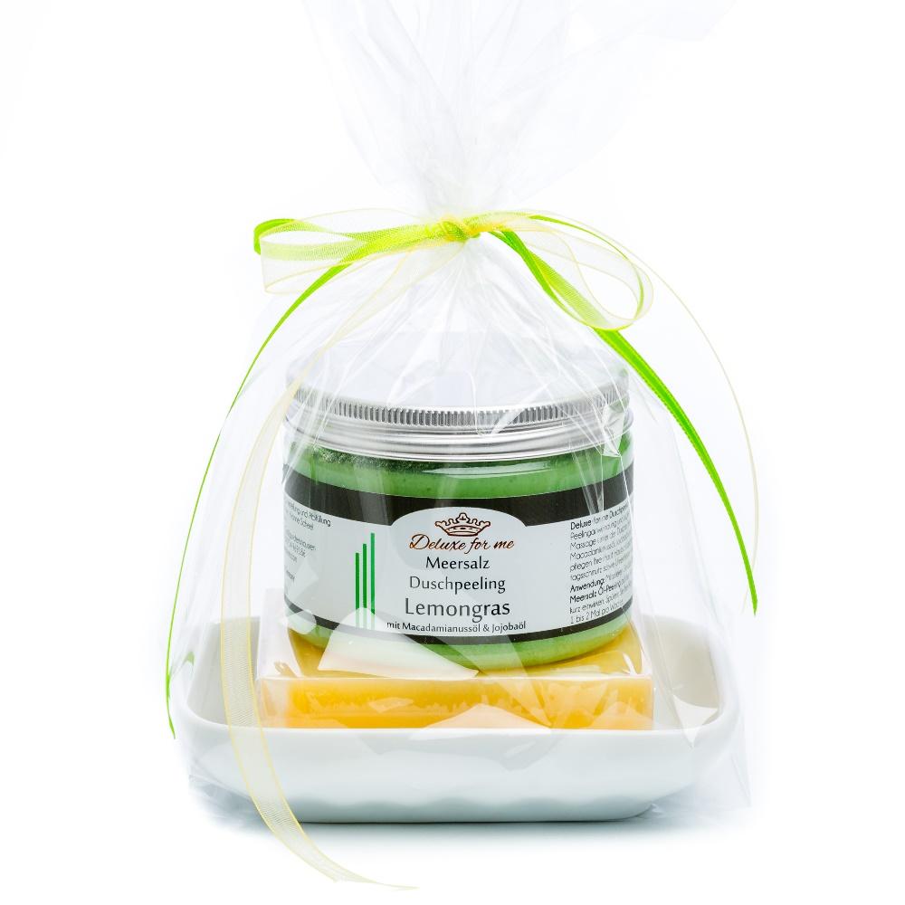 Geschenkeset Lemon 3-tlg. (Meersalz / Seife / Keramik)