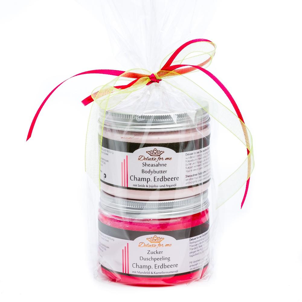 Geschenkeset Champagner Erdbeere (Bodybutter / Zucker)