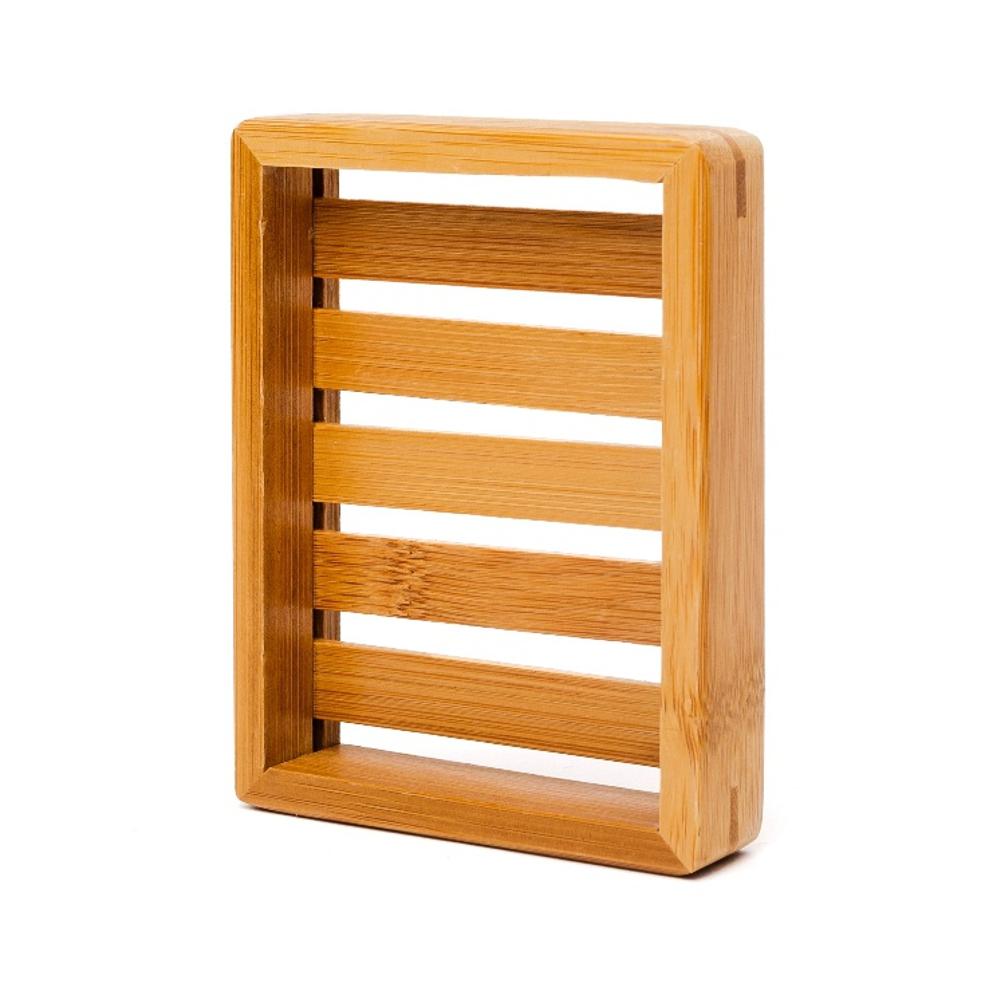 Bambus Seifenschale eckig - Ideal für die Dusche